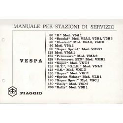 Manuale per Stazioni di Servizio Scooter Vespa 1963 - 1972, Italiano