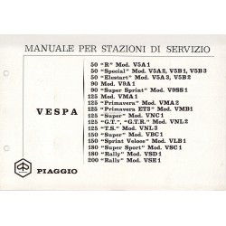 Workshop Manual Scooter Vespa 1963 - 1972, Italian