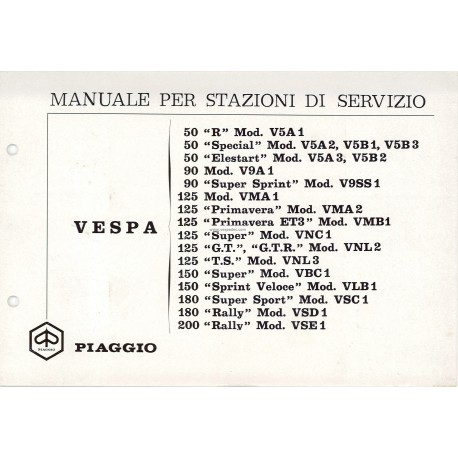 Workshop Manual Scooter Vespa 1963 - 1972, Italian