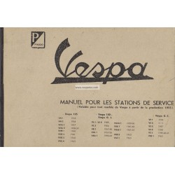 Manuale per Stazioni di Servizio Scooter Vespa 1955 - 1963, Francese