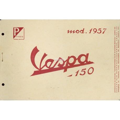 Manuale per Stazioni di Servizio Scooter Vespa 150 de 1957 mod. VB1T