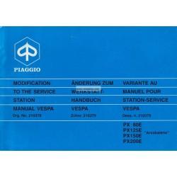 Manuale per Stazioni di Servizio Scooter Vespa PX 80 E, Vespa 125 PXE, Vespa 150 PXE,   Vespa 200 PXE, Vespa PXE Arcobaleno
