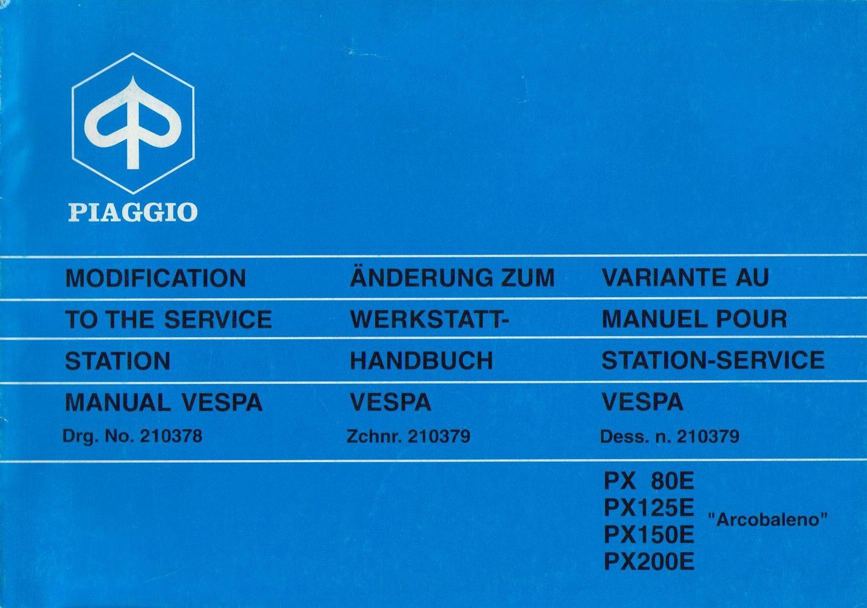piaggio vespa p 200 e 1977 1997 service repair manual
