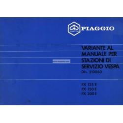 Manuale per Stazioni di Servizio Scooter Vespa PX 80 E, Vespa 125 PXE, Vespa 150 PXE,   Vespa 200 PXE, Italiano