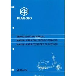 Manuale per Stazioni di Servizio Scooter Vespa PX Freno a Disco 1997, Inglese, Spagnolo, Portoghese