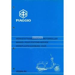 Manuale per Stazioni di Servizio Scooter Vespa PX Freno a Disco 1997,  Francese, Tedesco, Olandese
