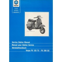 Workshop Manual Scooter Vespa 125 T5 mod. VNX5T, English, French, German