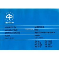 Manuale per Stazioni di Servizio Scooter Vespa PK 50, PK 50 S, PK 50 SS, PK 80 S, PK 125, PK 125 S, Francese, Tedesco