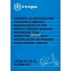 Manuel Technique Scooter Vespa PK 125 XL Plurimatic mod. VVM1T
