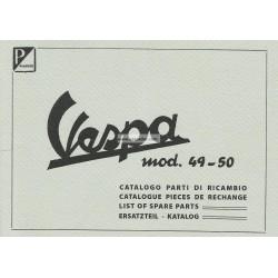 Catalogue de pièces détachées Scooter Vespa 125 V1T, V2T, V14T, V15T mod. 1949 - 1950