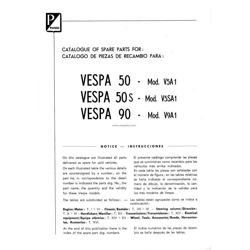 Catalogue of Spare Parts Scooter Vespa 50 mod  V5A1T, Vespa 50 S mod   V5SA1T, Vespa 90 mod  V9A1T, English, Spanish - Vespadoc