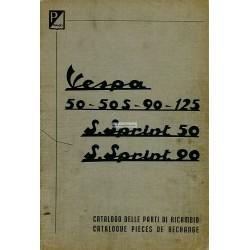 Catalogue de pièces détachées Scooter Vespa 50, 50 S, 90, 125 Nuova, 50 SS, 90 SS, Français, Italien