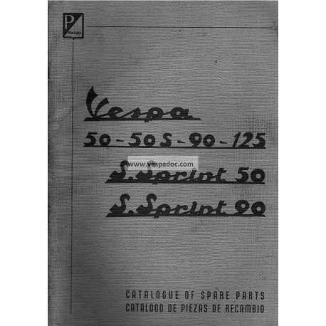 Catalogue de pièces détachées Scooter Vespa 50, 50 S, 90, 125 Nuova, 50 SS, 90 SS, Anglais, Espagnol