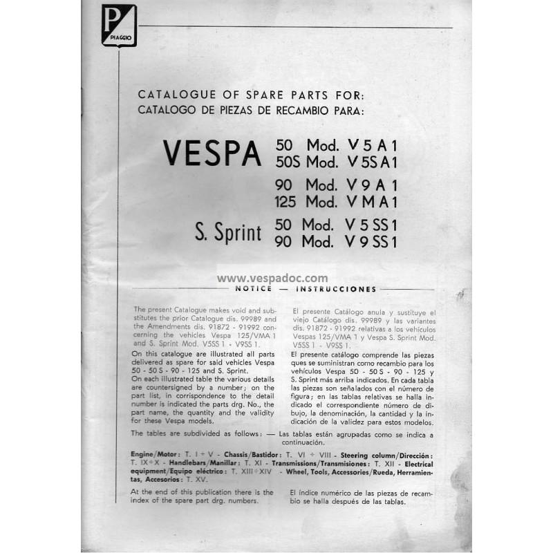 Catalogue of Spare Parts Scooter Vespa 50, 50 S, 90, 125 Nuova, 50 SS, 90  SS, English, Spanish - Vespadoc
