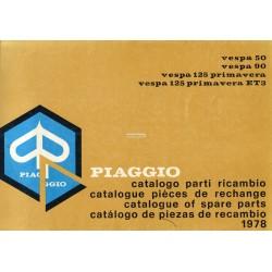 Catalogue de pièces détachées Scooter Vespa 50, 50 S, 50 Special, 90, 125 Primavera, 125 Primavera ET3, 1978