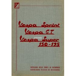 Catalogo delle parti di ricambio ScooterVespa 125 Sprint, 125 GT, 150 Sprint, 125 Super, 150 Super, Francese, Italiano