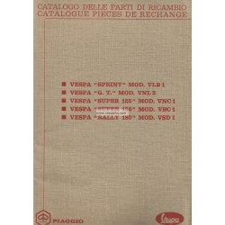 Catalogue of Spare Parts Scooter Vespa GT, Vespa Sprint, Vespa Super, 180 Rally, French, Italian