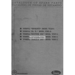 Catalogue of Spare Parts Scooter Vespa GT, Vespa Sprint, Vespa Super, 180 Rally, English, Spanish
