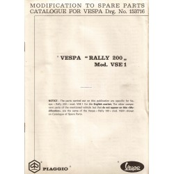 Catalogue de pièces détachées Scooter Vespa 200 Rally mod. VSE1T, 1972, Anglais