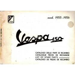 Catalogue de pièces détachées Scooter Vespa 150 VL1T, 150 VL2T, 150 VL3T mod. 1955 - 1956