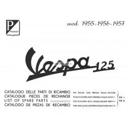Catalogue de pièces détachées Scooter Vespa 125 VN1T, Vespa 125 VN2T, mod. 1955 - 1957