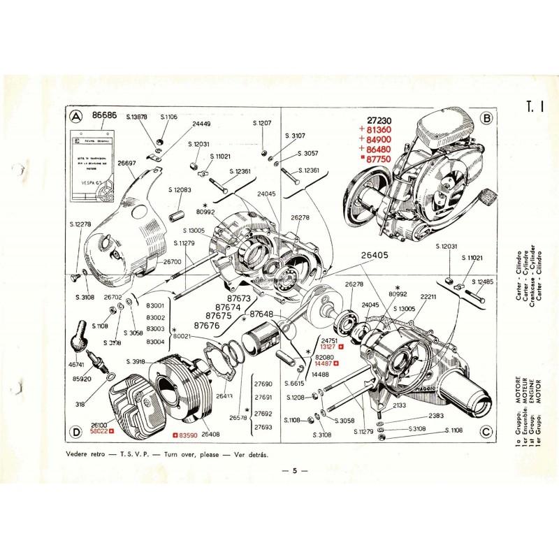 Catalogo de piezas de repuesto scooter vespa 150 gs mod for Piezas de repuesto
